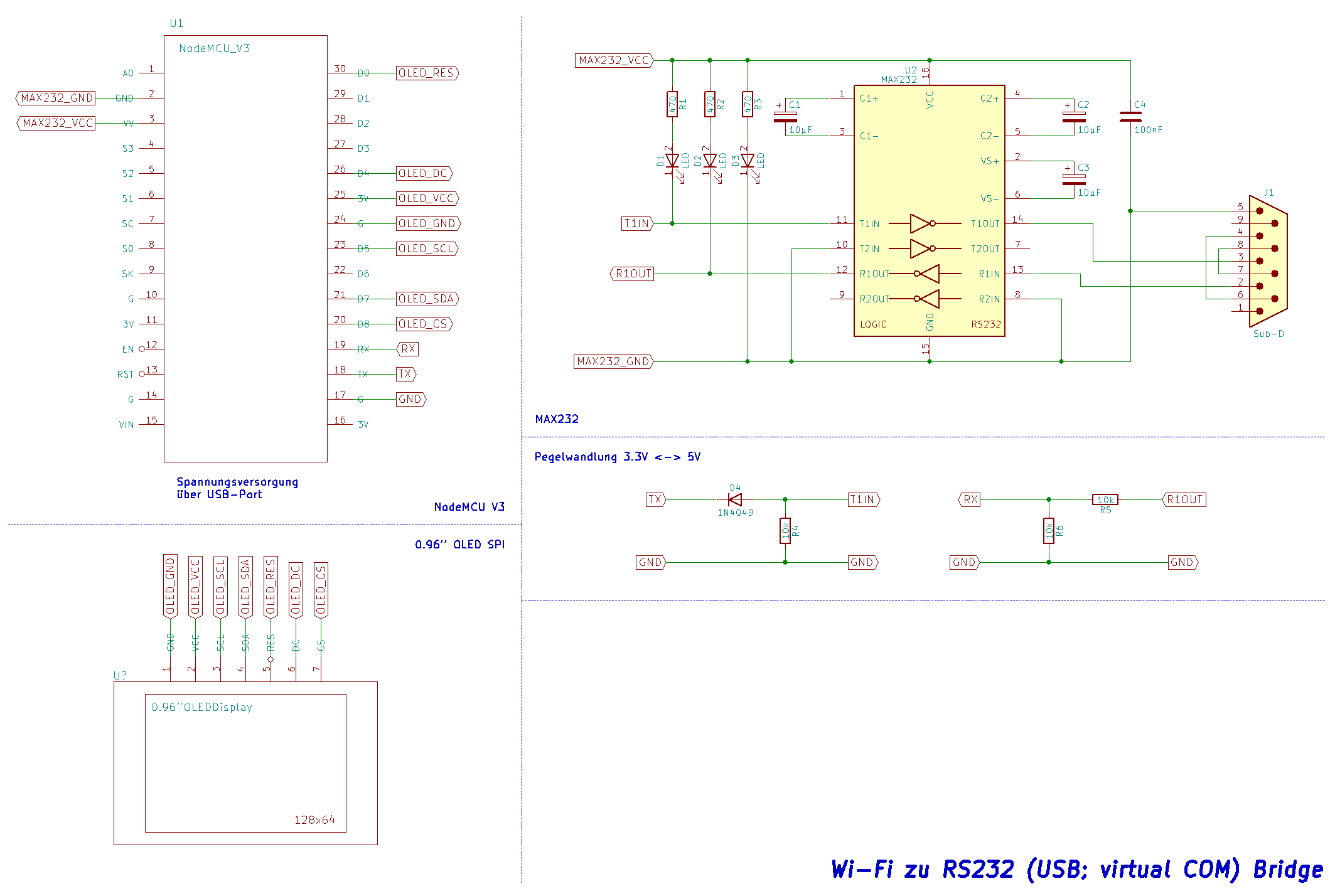 Wifi Rs232 Bridge Max232 Pin Diagram Gesamtschaltbild